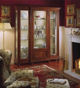 Voltaire glass-case with 3 doors, Luxury classic display cabinet with inner light, in walnut