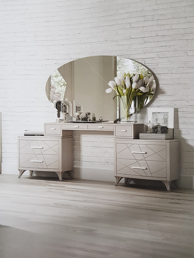 Aligio, Dressing table with drawers and oval mirror