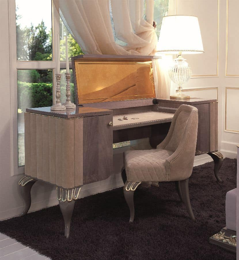 Art 113 Toilette Desk With Side Drawers And Retractable Mirror