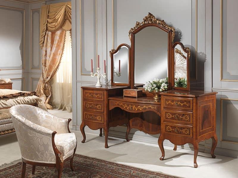 Art. 940 toilette, Dressing table with storage unit, walnut, luxury classic style