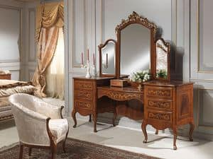 Art. 940 toilette, Dressing table with storage unit, walnut, luxury classic style