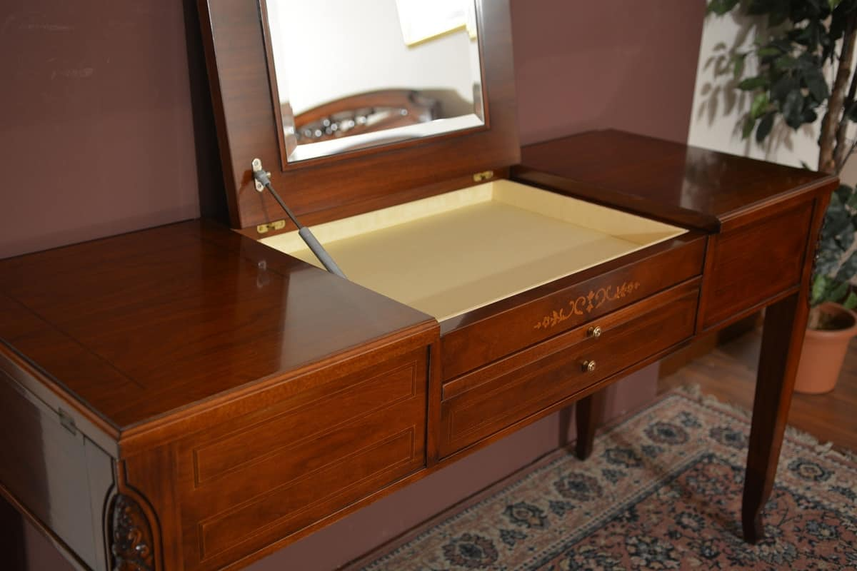 Beauty table, Dressing table in solid wood, with storage compartment