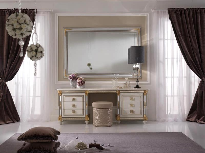 Liberty dressing table, Dressing table embellished with practical pull-out shelf with decorative mirror, classic style and decorated by hand