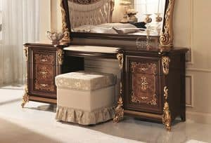 Sinfonia dressing table, Classic dressing table with marble top and side drawers