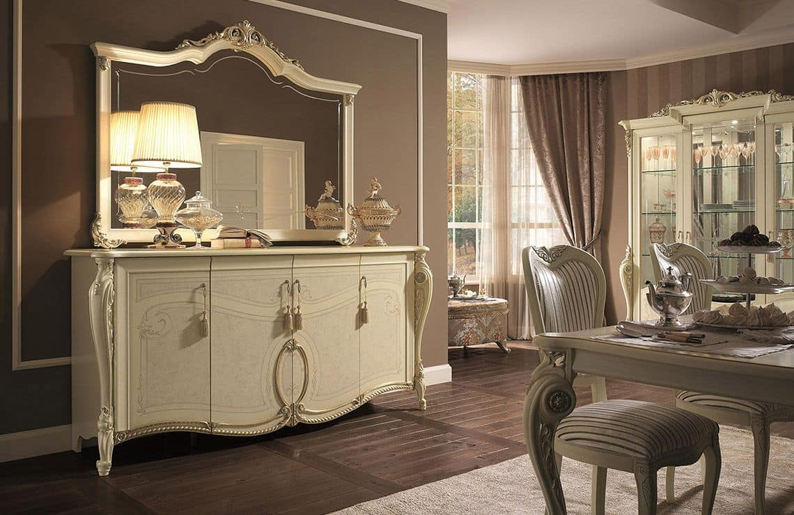 Tiziano buffet, Cupboard 4 doors, gold leaf finishes, to stay in classical style