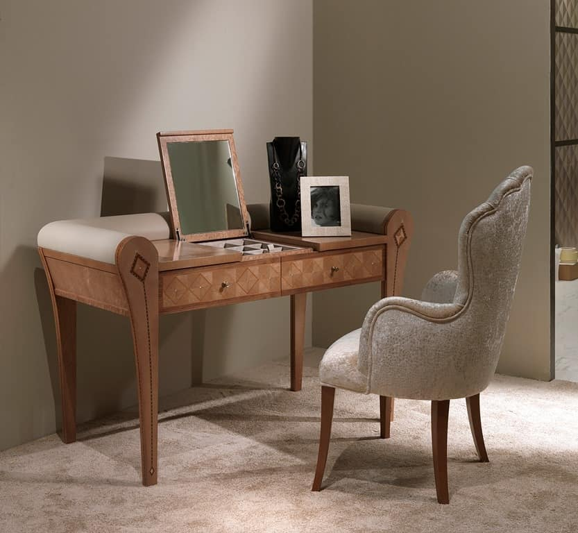 TS07 Charme dressing table, Dressing table with mirror and storage compartment