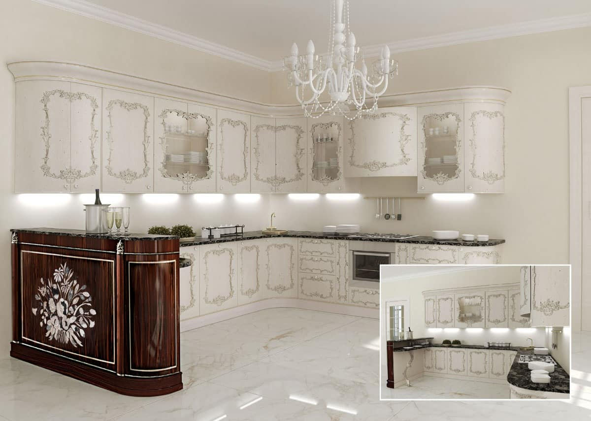 KT373, Classic kitchen, marble tops, for classic villas