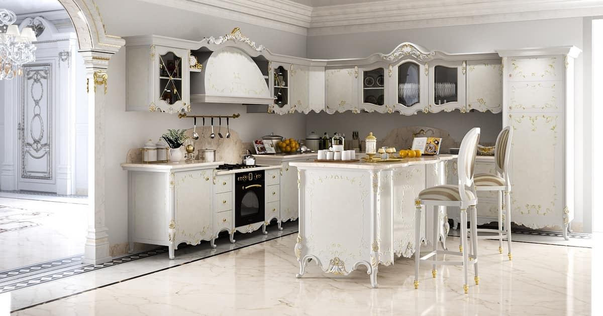 decorative kitchen decor.htm classic kitchen in carved wood  with marble top idfdesign  classic kitchen in carved wood  with