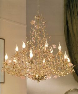 912112/gold, Gold leaf chandelier