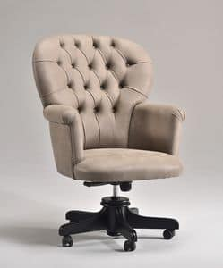 GLOBE OFFICE office armchair 8348A, Presidential office chair on wheels, quilted