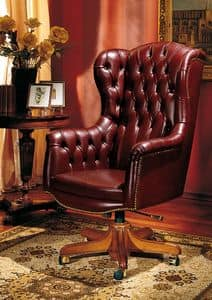 IMPERO / HOME OFFICE Armchair President, Office classic chair, in leather, with wheels