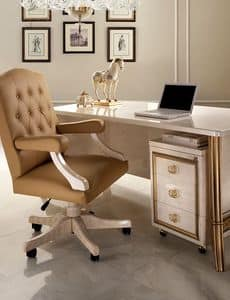 Melodia office armchair, Office armchair in a classic style, base with wheels, upholstered armrests