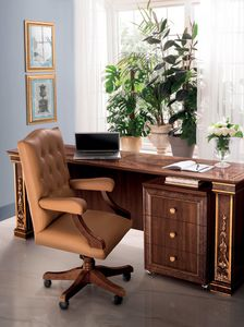 Modigliani office chair, Office armchair in leather
