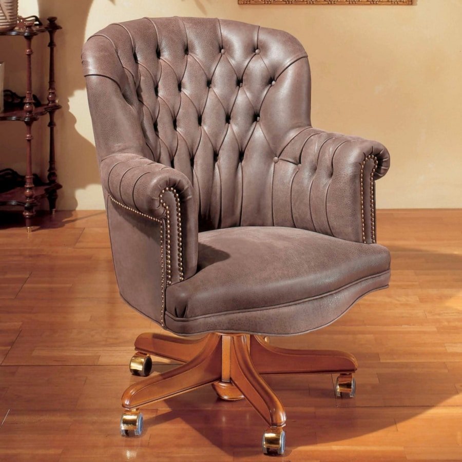 SUPERBA, Tufted leather armchair for office