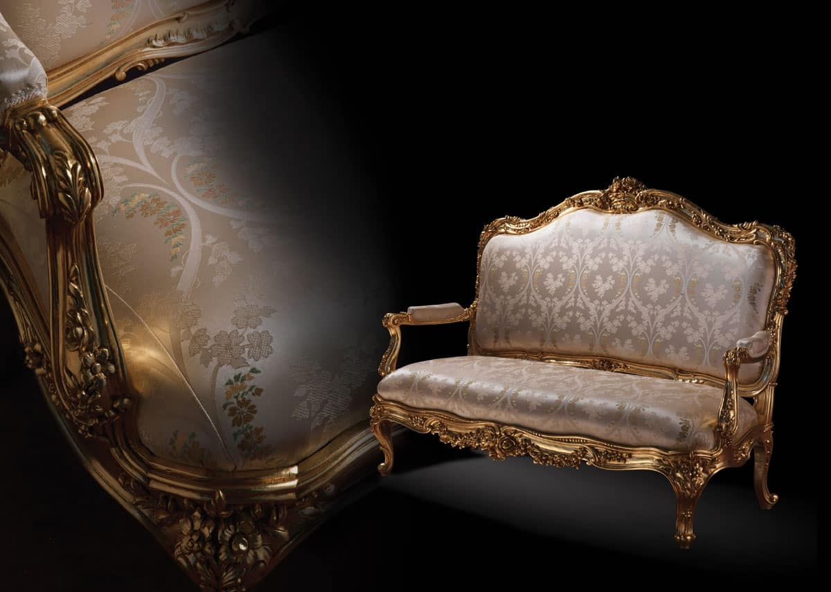 1008 Sofa, Sofa in classic style, with wooden golden frame