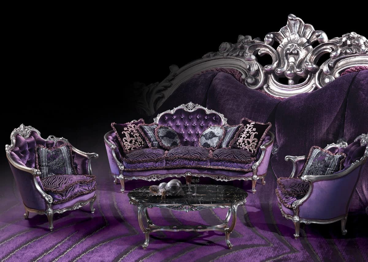220 Sofa, Sofa with silver finishings, Louis XV style