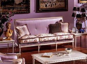 3325 DIVANO, 3-seat sofa in Louis XVI style, lacquered and carved