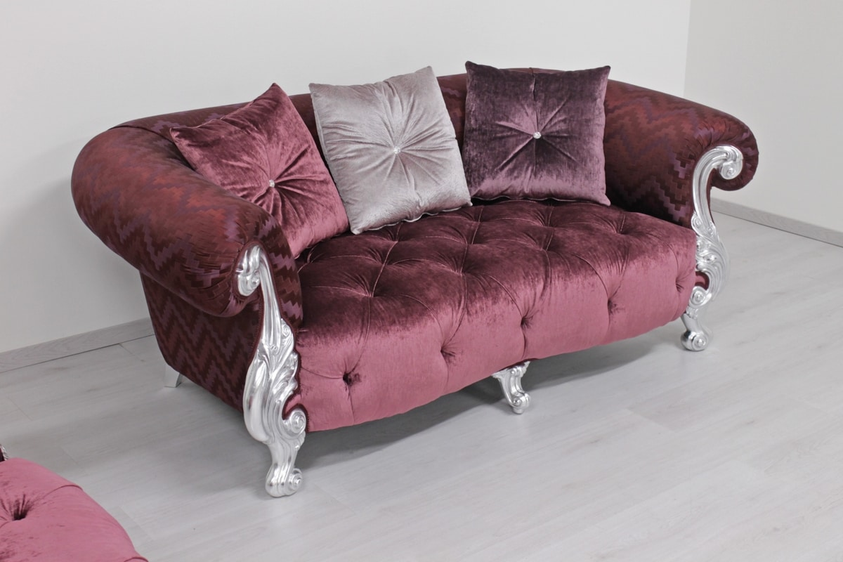 Oceano fabric 2-seater, Upholstered sofa, Baroque style