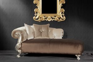 Oceano fabric dormeuse, Baroque style daybed, with finishings in gold and silver