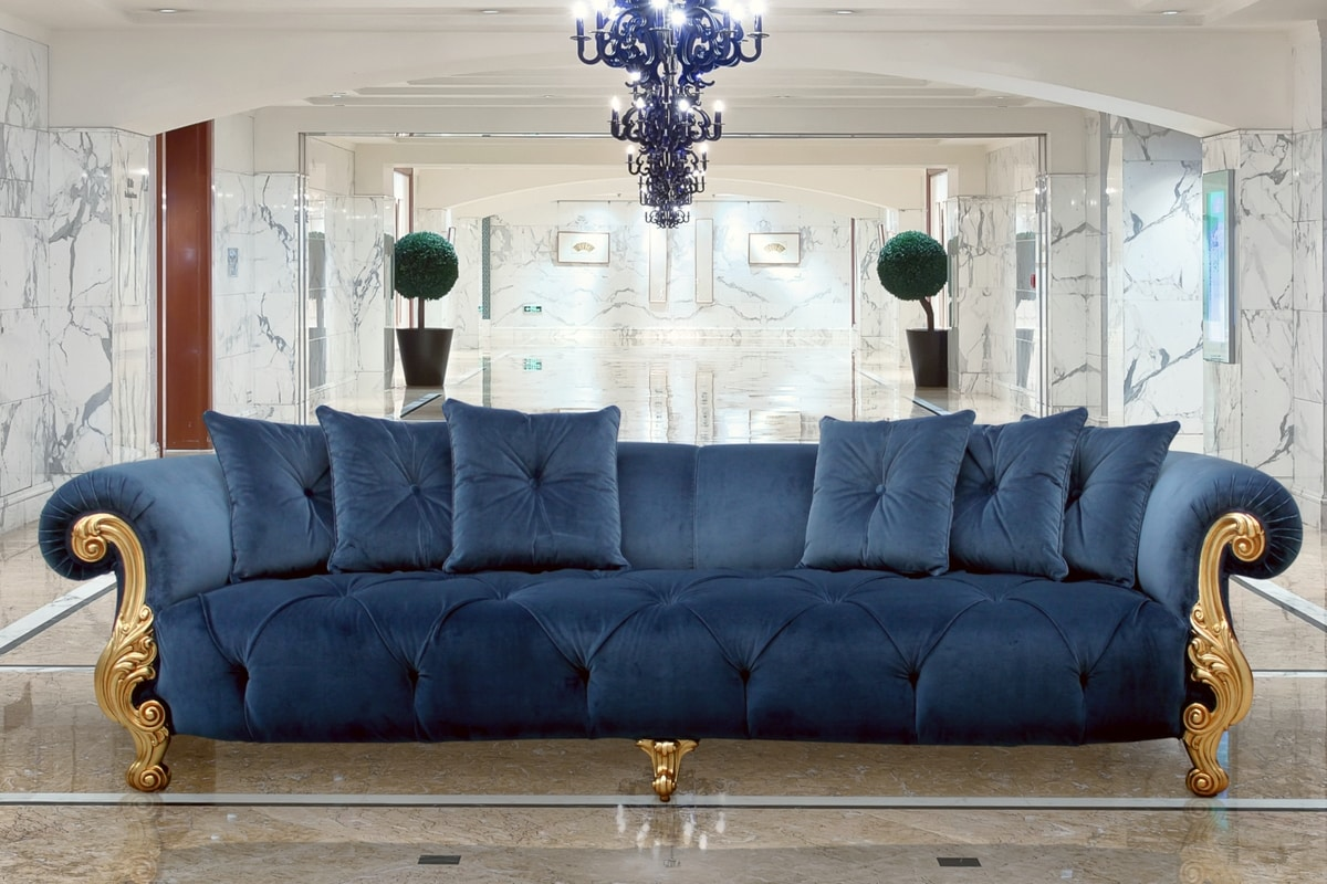 4 seater sofa with gold finishing, luxury classic style ...