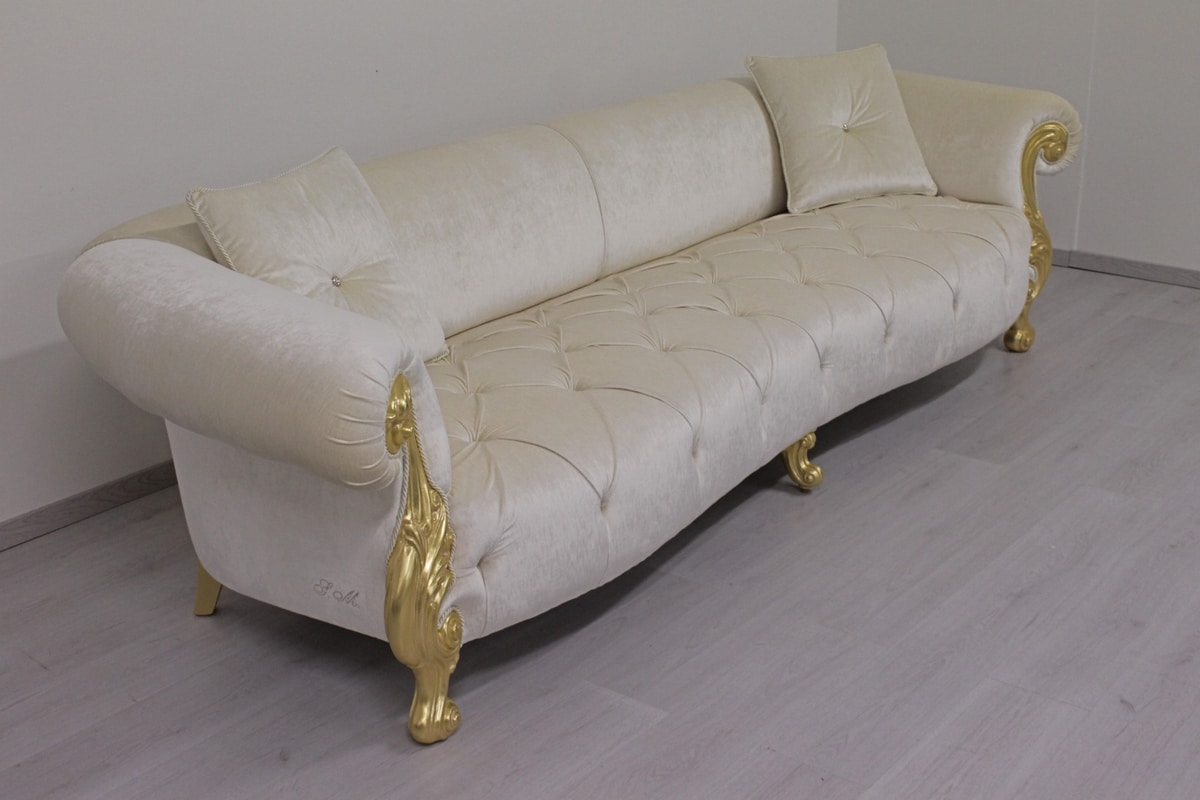 Oceano fabric 4-seater, 4 seater sofa with gold finishing, luxury classic style