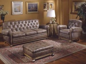Albas Sofa, Style sofa, covered in leather, goose down pillows