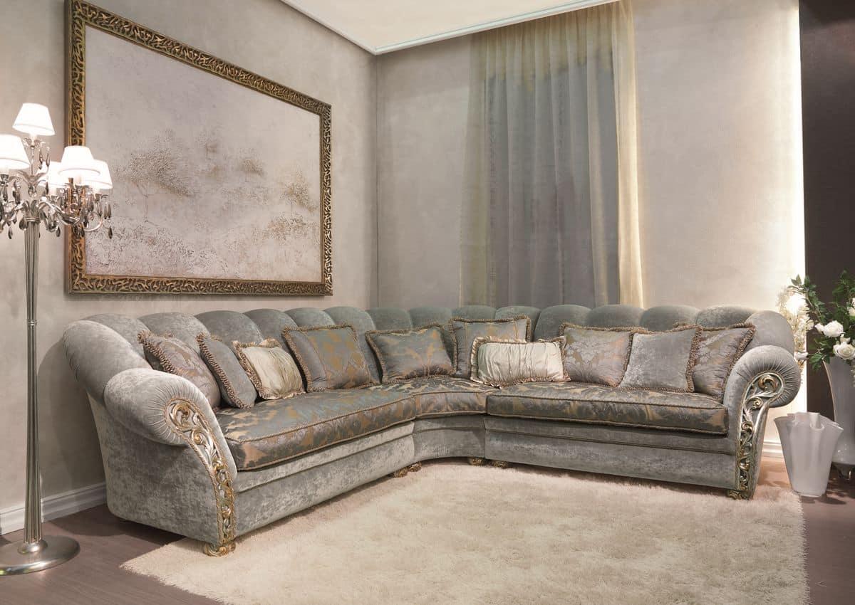 Althea, Angular classic sofa, armrest with hand carving