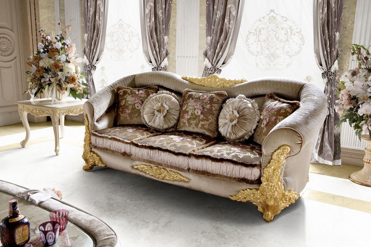 Amina sofa, Classic sofa with rounded shapes