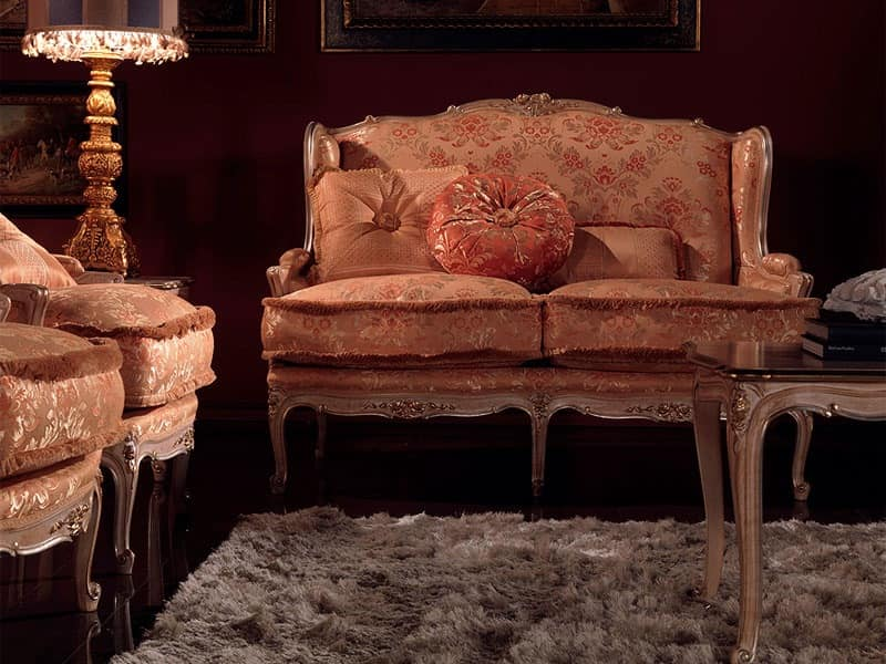 Anna sofa, Upholstered sofa, lacquered finish, silver leaf decorations