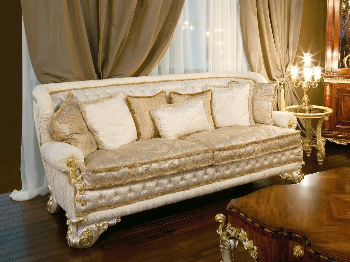 Art. 1051, Luxury sofa covered in silk, quilted backrest