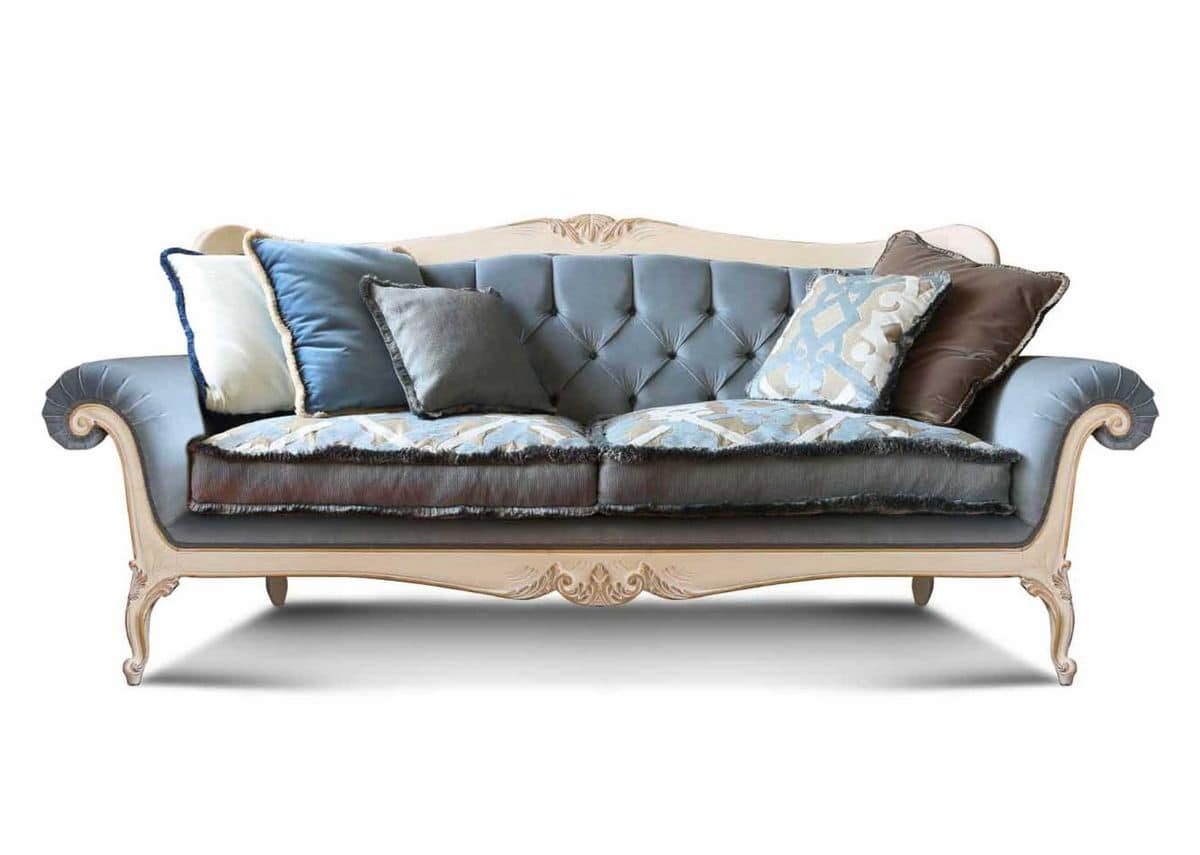 Art. 1060, Luxury sofa, with hand-carved details, tufted backrest, for living room and hotels