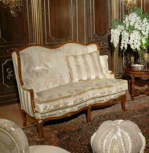 Art. 1075, Luxury sofa, covered in velvet and silk, handmade