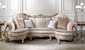 ART. 3012, Classic sofa with gold decap� finish