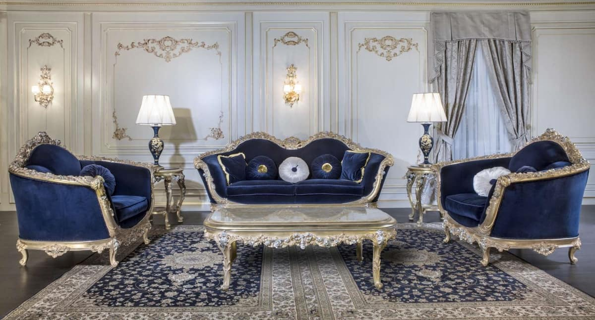 Art. EM/203 Empire, Carved baroque sofa with silver details