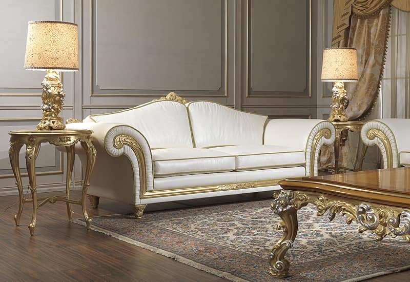 Art. IM 23 Imperial, Luxury sofa, characterized by handicraft carved mouldings with baroqe and gold leaves