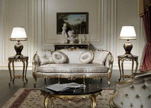 Art. VE/203 Sofa Venezia, Luxury sofa, Louis XV style, with precious carvings