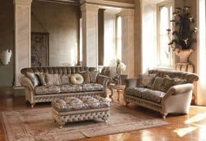 Astrid, 3 seater sofa for classic living room, silver leaf finishes