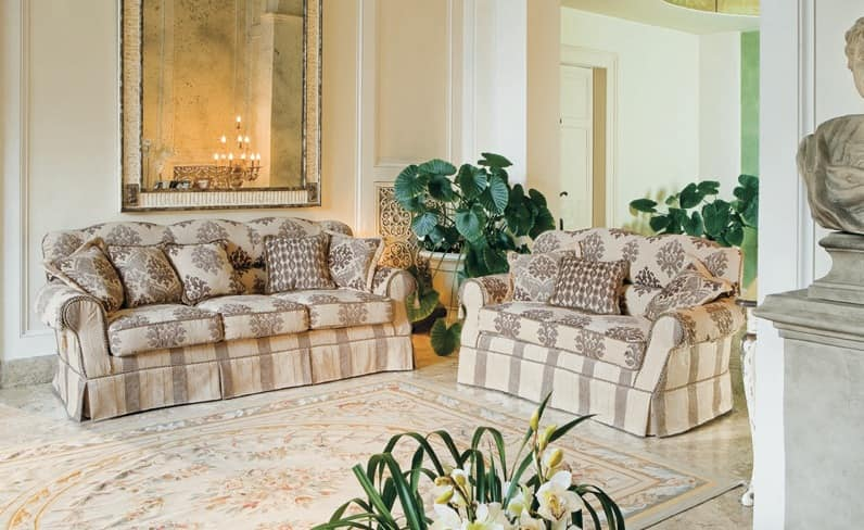 Bacio, Upholstered sofa in classic luxury style for Living room