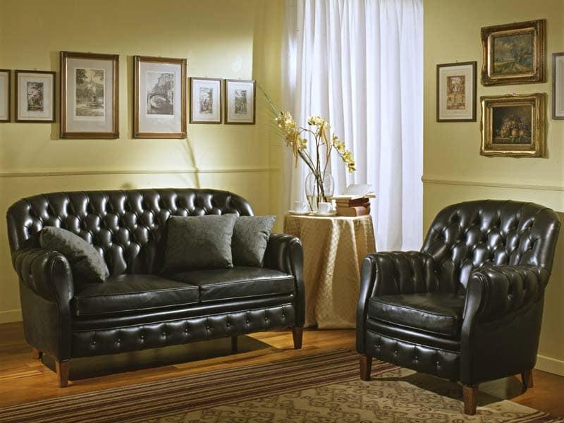 Bulbas Divano Capitonnè, Luxury classic sofa,  capitonné, for hotel halls and sitting room