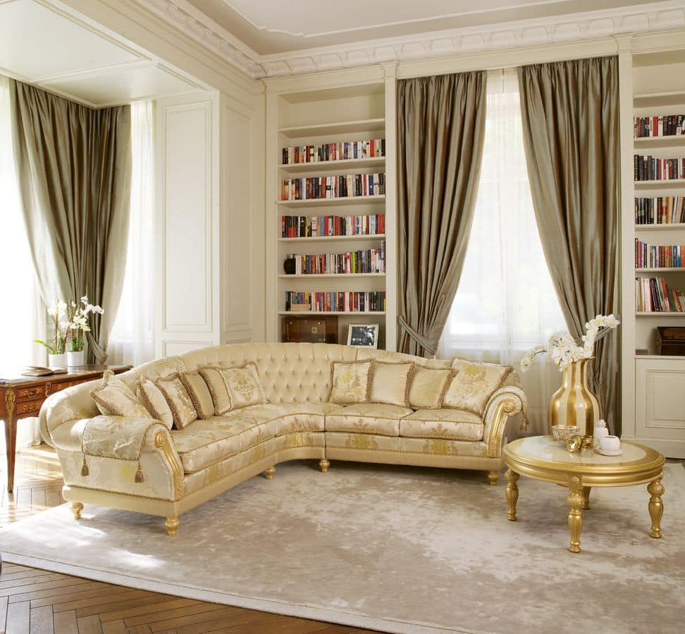 Etoile, Luxury classic sofa for Hall, hand carved