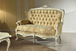Chippendale 2 seater sofa lacquered, Sofa with capitonn� backrest