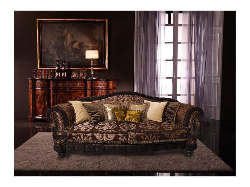 Cristina, Luxury sofa covered in silk, handmade