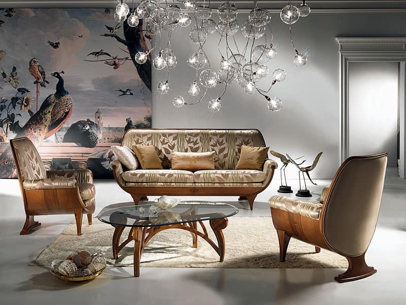 DI01 Confort sofa, Wood sofa, padded, comfortable, classic luxury
