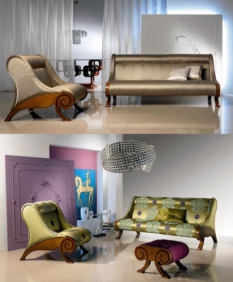 DI06 Glamour sofa, Upholstered Sofa in wooden frame, customizable covering