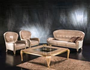 DI34 Butterfly sofa, Classic sofa, 3 seats, leather upholstery, for living room