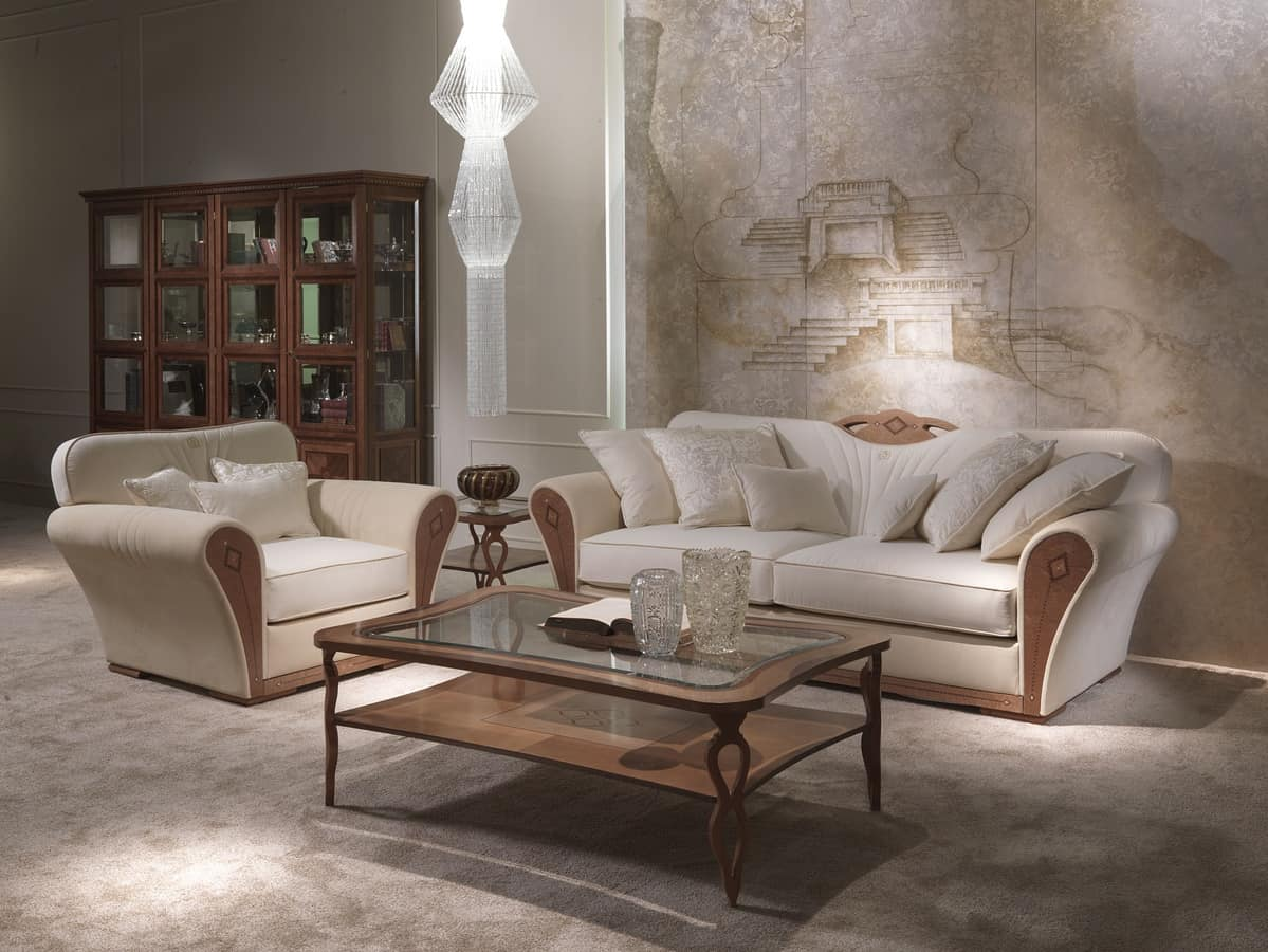 DI36 Charme sofa, Overstuffed sofa in wood for luxury living rooms