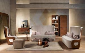 DI38 Galileo sofa, Sofa with walnut frame, upholstered, for house