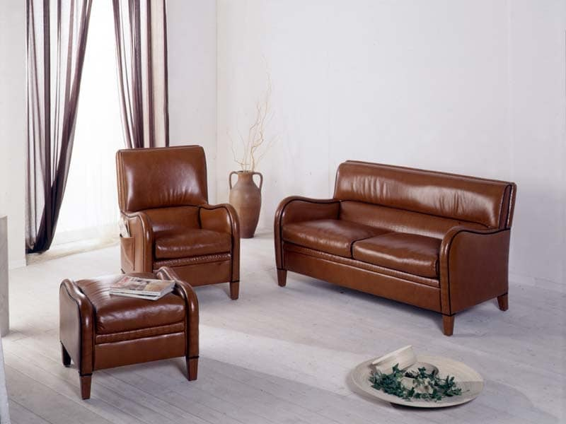 Diana Sofa, Leather sofa, achievable in fireproof rubber