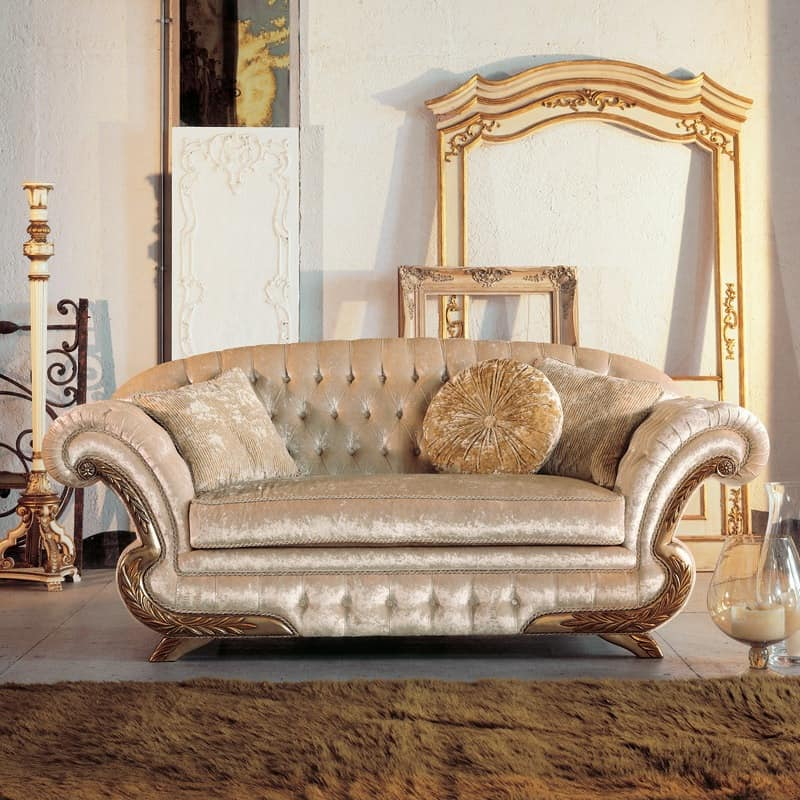 Diletta, Luxury classic Sofa, frame with gold leaf finish