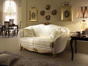 Donatello sofa, Sofa in neoclassical style, decorations in hand-carved wood, for sitting room